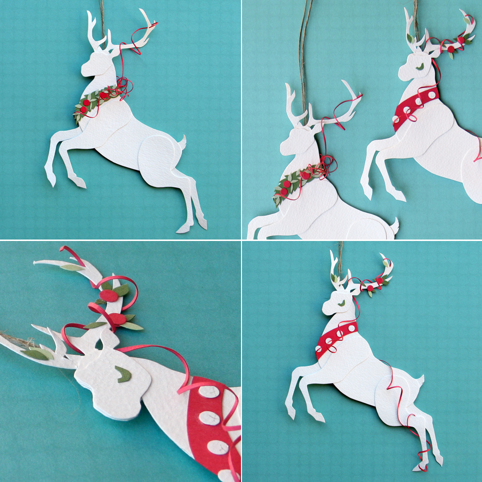 Reindeer christmas ornaments - Two Of The Cut Paper Reindeer Christmas Ornaments I Made For Pay It
